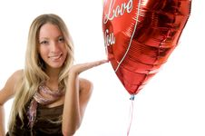 Free Beautiful Fashion Woman  With A Red Party Balloon. Royalty Free Stock Image - 5616576