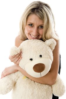 Free Lovely Young Blonde Girl With Teddy Bear Royalty Free Stock Images - 5616629