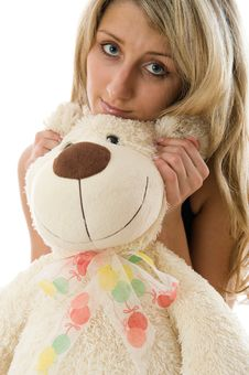 Free Lovely Young Blonde Girl With Teddy Bear Royalty Free Stock Photos - 5616728