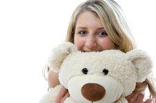 Free Happy Little Girl With Teddy Bear Stock Photos - 5616993