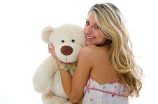 Free Happy Sexy Girl With Teddy Bear Stock Photo - 5617120