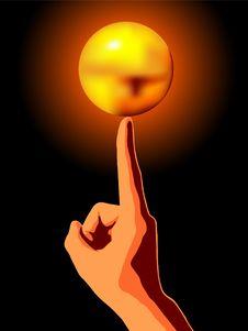 Free Golden Ball On Finger Stock Photos - 5618663