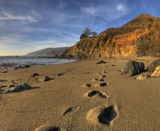 Free Footprints On Big Sur Beach Stock Image - 5618891