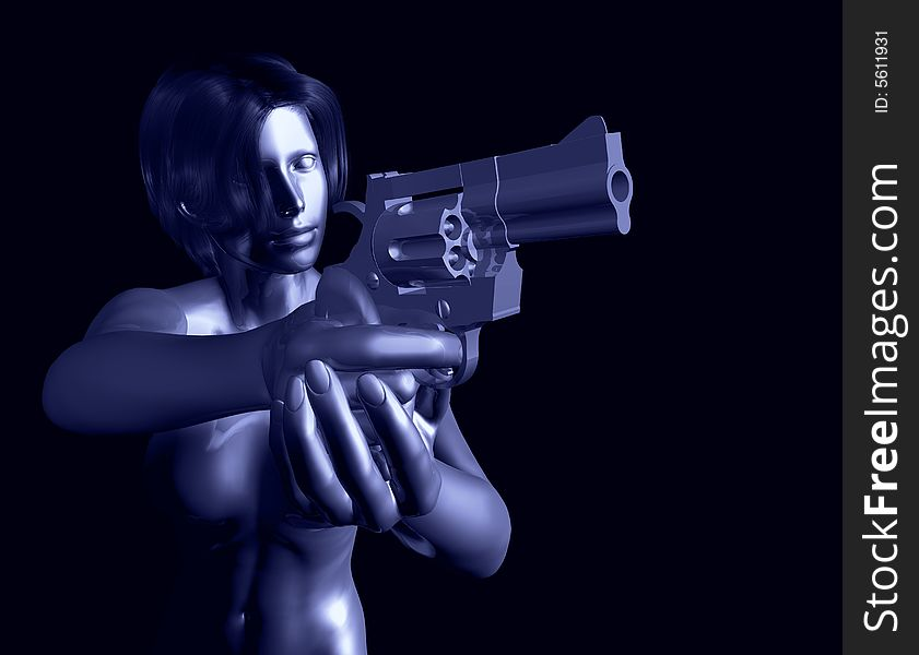 Metallic woman with gun