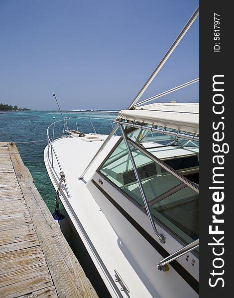 Dive Boat docked in the Caribbean