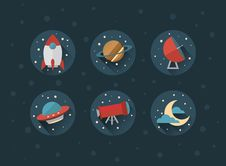 Free Space Vector Icons With Shadows Royalty Free Stock Images - 56151319