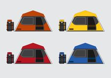 Free Flat Color Tents And Bags Set Stock Image - 56187421