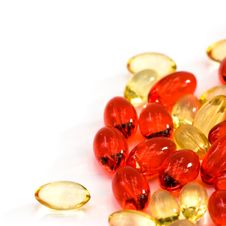 Yellow And Red Pills Royalty Free Stock Photography