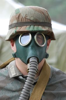 German Soldier In Gas Mask. Royalty Free Stock Photos