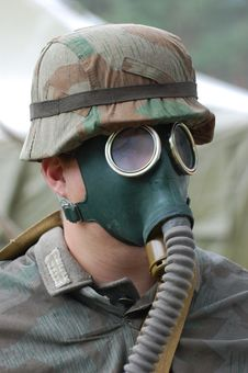 German Soldier In Gas Mask. Royalty Free Stock Photo