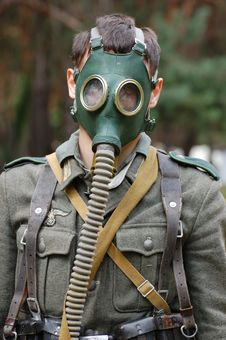 German Soldier In Gas Mask. Royalty Free Stock Images