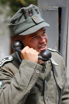 German Soldier With Phone. Royalty Free Stock Images