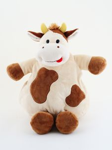 Free Crazy Fat Cow On White Back Stock Photography - 5624522