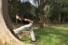 Free Woman Stretching Against Tree - Horizontal Royalty Free Stock Photography - 5624587