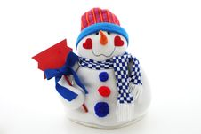 Funny Snowman With Plate Stock Image
