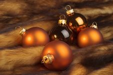 Christmas Balls On A Fur Royalty Free Stock Images