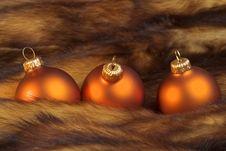 Christmas Balls On A Fur Royalty Free Stock Photos
