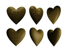 Wooden Heart Solid Wood Isolated Royalty Free Stock Images