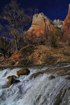 Free Waterfall In Zion National Park Stock Photo - 5629550