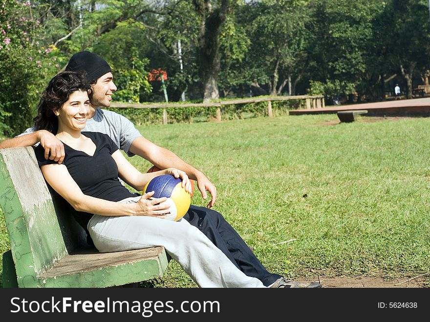 Man and Woman on a Park Bench - Horizontal