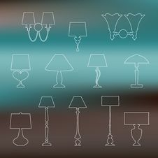 Set Of Linear Silhouettes Of Lamps And Sconces On Blurred Background Royalty Free Stock Image