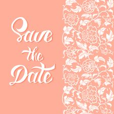 Free Save The Date Vector Card Template With Handdrawn Unique Typography Royalty Free Stock Photo - 56233695
