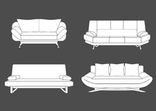 Free Set Of Couches And Sofas. Vector Illustration Royalty Free Stock Image - 56233766