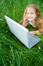 Free Cute Little Girl With Laptop Royalty Free Stock Photo - 5633015