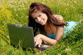 Free Girl With Laptop Stock Photography - 5638842