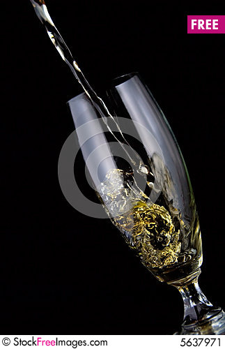 Free Glass Of Wine Poured Stock Image - 5637971