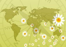 Free Floral World Map Royalty Free Stock Photos - 5630738