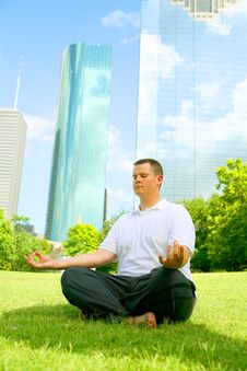 Downtown Meditate Stock Photography