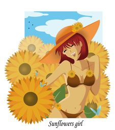 Free Sunflowers Girl Royalty Free Stock Images - 5632839
