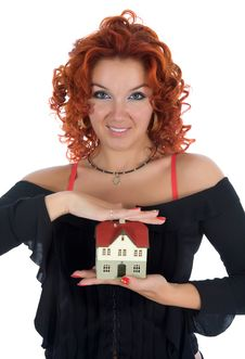 Business Woman Advertises Real Estate On White Stock Image