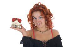 Business Woman Advertises Real Estate On White Stock Photos