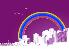 Free City With Colorful Rainbow. Stock Image - 5634241
