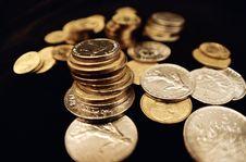 Columns Of The Metallic Coins Royalty Free Stock Photos