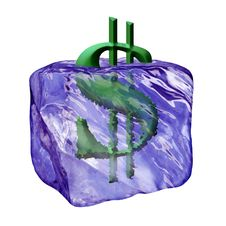 Free Image Of The Sign Dollar In Cube Ice Royalty Free Stock Image - 5635276
