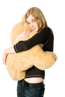 Free Girl With Teddy Bear Stock Image - 5635681