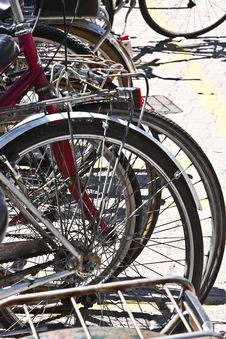 Free Bicycles On A Parking Stock Image - 5636311