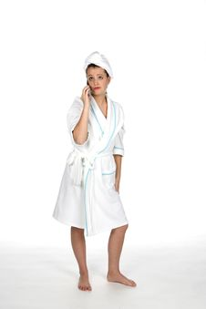 Free Teen On Cell Phone And In Her Robe And Hair Towel Stock Photos - 5636383