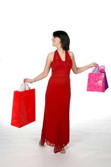 Free Pretty Teen Carring Shopping Bags Stock Photography - 5637012
