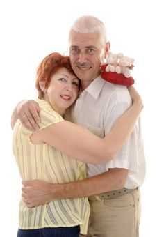 Free Senior Couple With Toy Heart Royalty Free Stock Photo - 5637375
