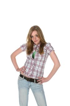 Free Confident Teen With Her Hands On Her Hips Stock Photos - 5638633