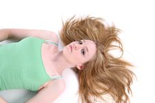 Woman On Her Back With Her Hair Spread Out Royalty Free Stock Photography
