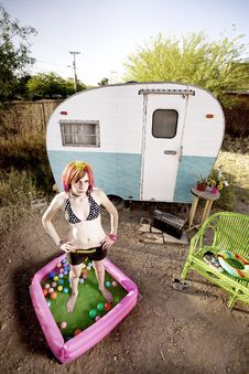 Free Woman Outside A Trailer Stock Photography - 5638942
