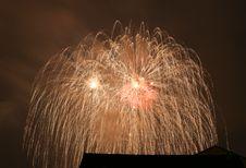 Fireworks In Darken Sky Stock Images