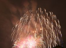 Fireworks  In Darkness Royalty Free Stock Photos