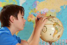 Free Student Studies Geography Stock Photography - 5639362