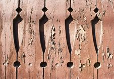 Old Painted Boards With Cracked Paint And Carved Patterns